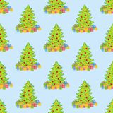 Christmas tree pattern. On the blue background. Vector illustration Stock Images