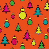 Christmas tree pattern with Christmas decoration. Fun orange color Stock Photo