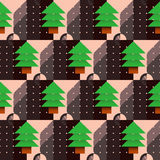 Christmas tree pattern with a dial in the geometric style Stock Image