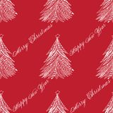 Christmas tree pattern doodle stylized, hand drawn, white on red. Christmas tree pattern doodle stylized, hand drawn, seamless, illustration, white on red. Merry Stock Images