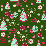 Christmas tree pattern on green background - Illustration Stock Photography