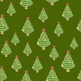Christmas tree pattern seamless. Xmas background. New Year fir royalty free illustration