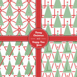 Christmas tree pattern set in line art 05 Stock Photos