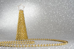 Christmas tree pearls. Silver Glitter background, Christmass tree Stock Photography