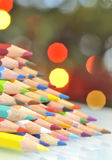 Christmas tree pencils and lights Stock Images