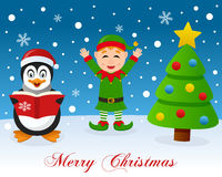 Christmas Tree, Penguin & Cute Green Elf Royalty Free Stock Images