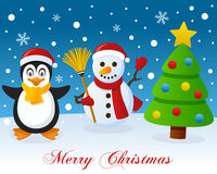 Christmas Tree, Penguin & Cute Snowman Royalty Free Stock Images