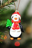 Christmas tree penguin decoration Royalty Free Stock Photo