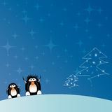 Christmas tree with penguins Stock Photo