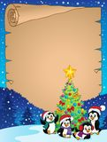 Christmas tree and penguins parchment 1 Royalty Free Stock Photography