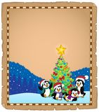 Christmas tree and penguins parchment 2 Stock Photography