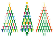 Christmas tree with people icons, vector stock illustration