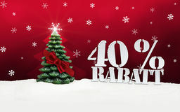 Christmas Tree 40 percent Rabatt Discount. Winter snow Royalty Free Stock Images