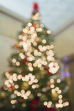 Christmas Tree Perspective Defocused with Bokeh Lights royalty free stock photos