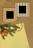Christmas tree and Photo frames. Christmas tree and Two photo frames on gold and bronze paper. Template for Design Stock Image