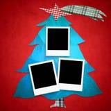 Christmas tree photo frames. Christmas Tree with three photo frames Royalty Free Stock Photo
