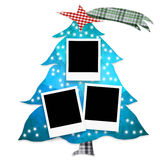 Christmas tree photo frames. Christmas Tree with three photo frames  on white background Stock Photography