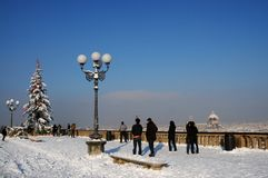 Christmas tree at Piazzale Michelangelo, in Winter season, Florence Stock Photo