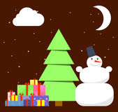 Christmas tree and piles of presents under Royalty Free Stock Photography