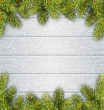 Christmas Tree Pine Branches Like Frame on Wooden Desk. Christmas Tree Pine Branches Like Frame in Snowfall on White Wooden Background vector illustration