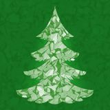Christmas tree. Pine tree isolated. On abstract mesh background. Styled as paper cut Royalty Free Stock Photos
