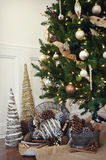 Christmas Tree with Pinecones Royalty Free Stock Images
