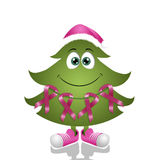 Christmas tree with pink awareness ribbons Stock Photography