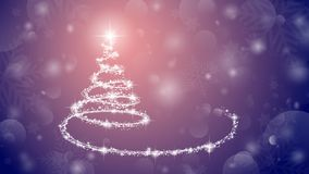 Christmas tree on pink background. Sparkling Christmas tree as symbol of Happy New Year and Merry Christmas holiday celebration