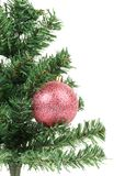 Christmas tree with pink ball. Stock Photo
