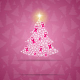 Christmas tree with pink ribbons stock illustration