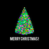 Christmas Tree. Pixel art different colored bright Christmas tree on black background Royalty Free Illustration