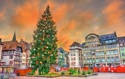 Christmas tree on Place Kleber in Strasbourg, France. Christmas tree at the famous Christmas Market in Strasbourg - Alsace, France Stock Image