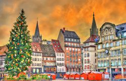 Christmas tree on Place Kleber in Strasbourg, France. Christmas tree at the famous Christmas Market in Strasbourg - Alsace, France Stock Images