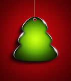 Christmas tree with place for text over red  background Stock Photo