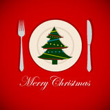 Christmas tree on a platter. Invitation template. vector Stock Photography