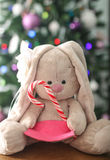 Christmas tree  and plush rabbit Royalty Free Stock Photos