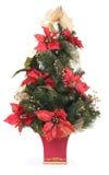 Christmas Tree with Poinsettias Royalty Free Stock Photos