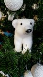 Christmas Tree with a polar bear ornament Royalty Free Stock Photography