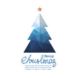 Christmas tree-02. Polygonal Christmas tree with lettering isolated on white background. Design element for greeting cards or flyers. Xmas illustration Royalty Free Stock Photography