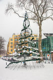 Christmas tree in Pomorie, Bulgaria royalty free stock photography