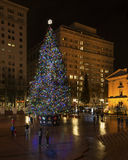 Christmas Tree in Portland, OR. Portland, OR USA - December, 25th 2014. The main Christmas tree in Portland is on Pioneer square stock photography