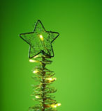 Christmas tree - postcard. Christmas tree on green background royalty free stock images