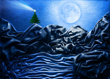 Christmas tree postcard. Night view of Christmas tree illuminated by the moon Royalty Free Stock Photography
