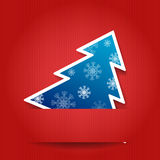 Christmas tree postcard. Vector illustration: Paper red background with Christmas tree stock illustration