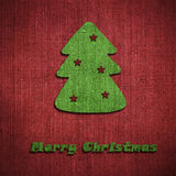 Christmas tree postcard. Made of fabric Stock Photo