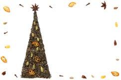 Christmas tree postcard made of tea Stock Images