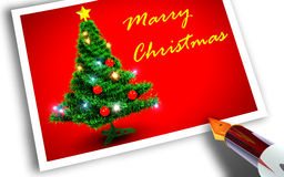 Christmas tree on postcard. Christmas tree and pen.3d rendering Stock Images