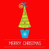 Christmas tree in pot. Merry Christmas card. Stock Photos