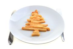 Christmas tree from the potatoes chips Stock Images