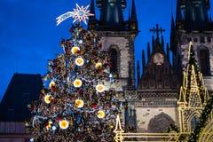 Christmas tree on Prague Old Town Square Royalty Free Stock Photos